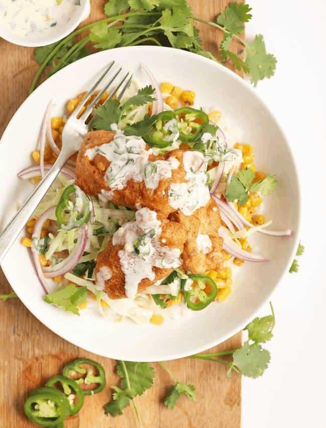 Fish Tacos Bowl with 'Baja' Sauce