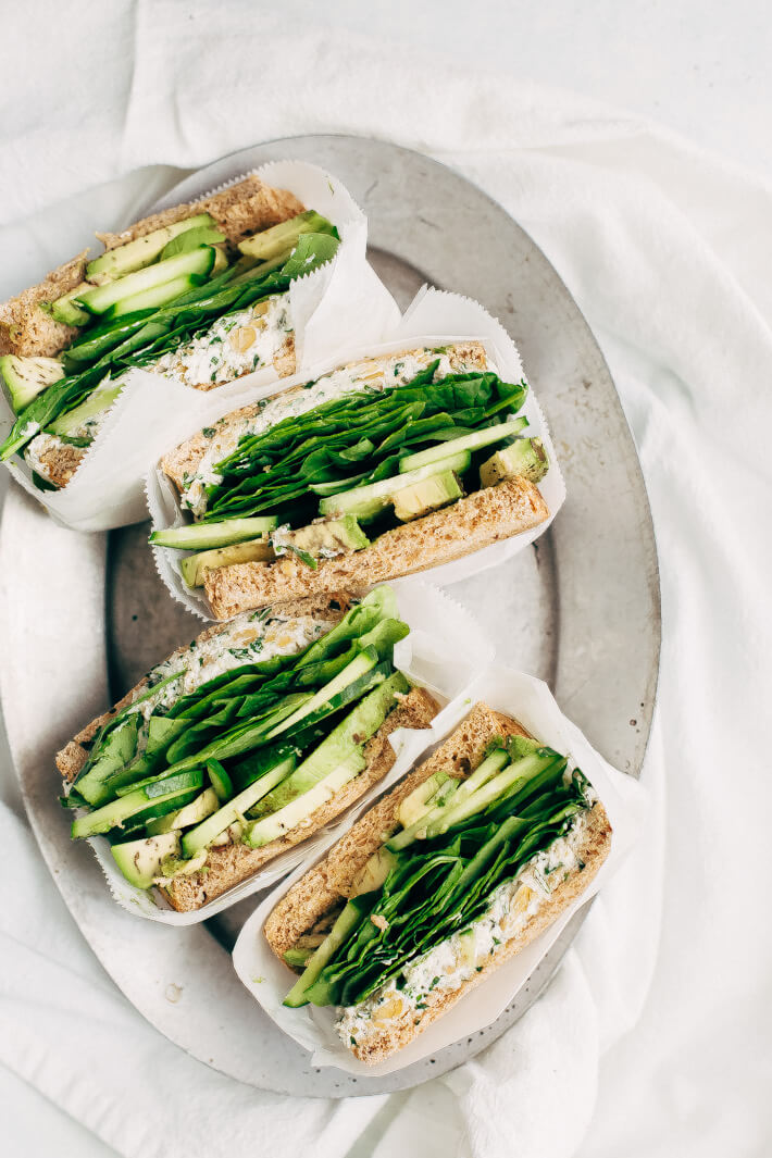 Vegan Smashed Chickpea Green Goddess Sandwiches