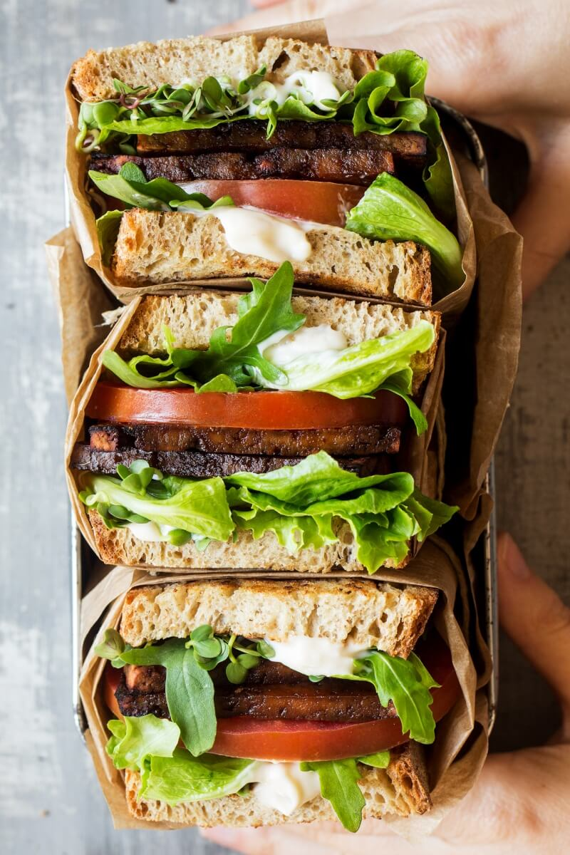 Vegan BLT Sandwich with Aquafaba Mayo
