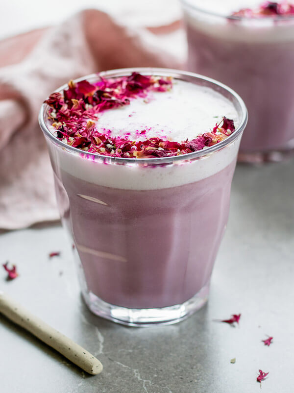 Vegan Hibiscus Rose Tea Latte