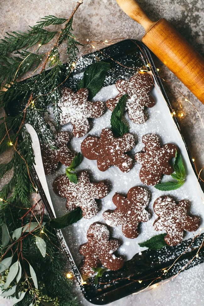 Vegan Mint Chocolate Gingerbread Cookies