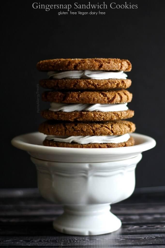 Vegan Gingersnap Sandwich Cookies (gluten-free)