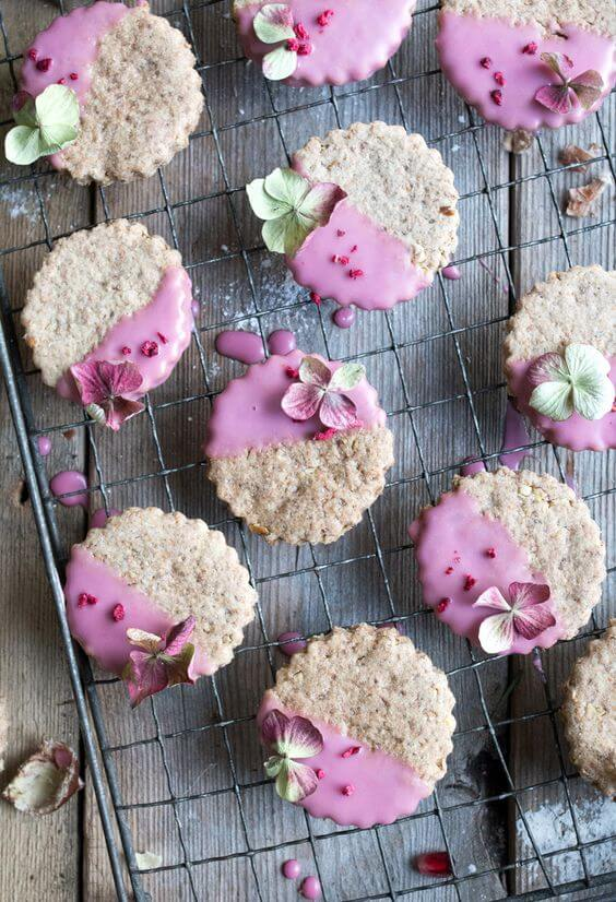 Vegan Chestnut Christmas Cookies Dipped in Pomegranate Glaze