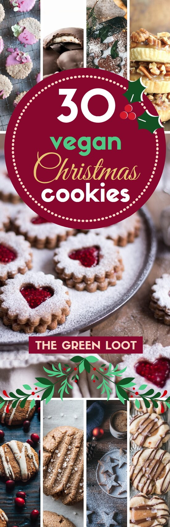 We have collected the absolute best, most delicious and divine vegan X-mas cookies, that are easy and even healthy! Enjoy these finger-licking yummies! See our best vegan Christmas desserts/treats list too! Happy Holidays! | The Green Loot #vegan #Christmas