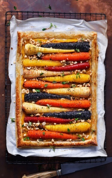 Vegan Hasselback Vegetable Tart