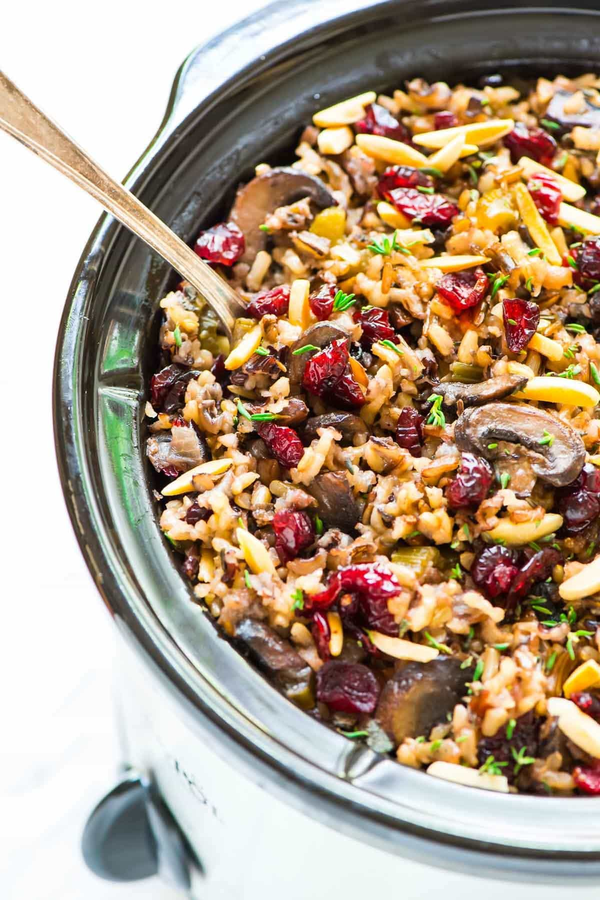 Crockpot Stuffing with Wild Rice and Cranberries