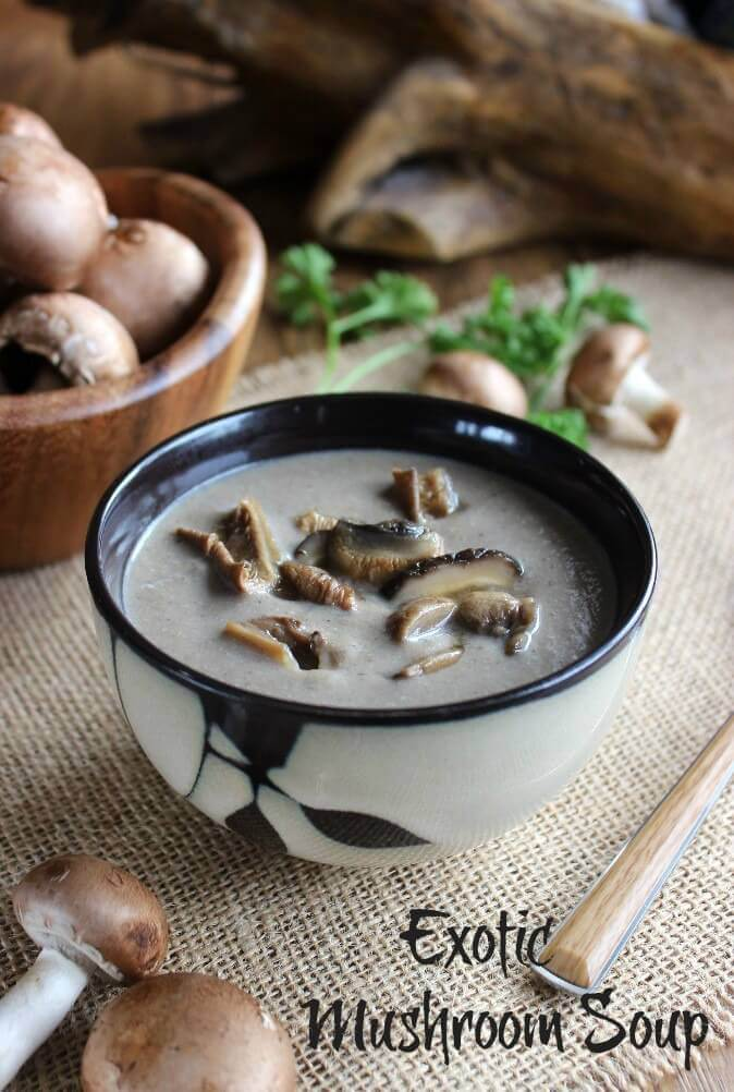 Vegan Slow Cooker Exotic Mushroom Soup