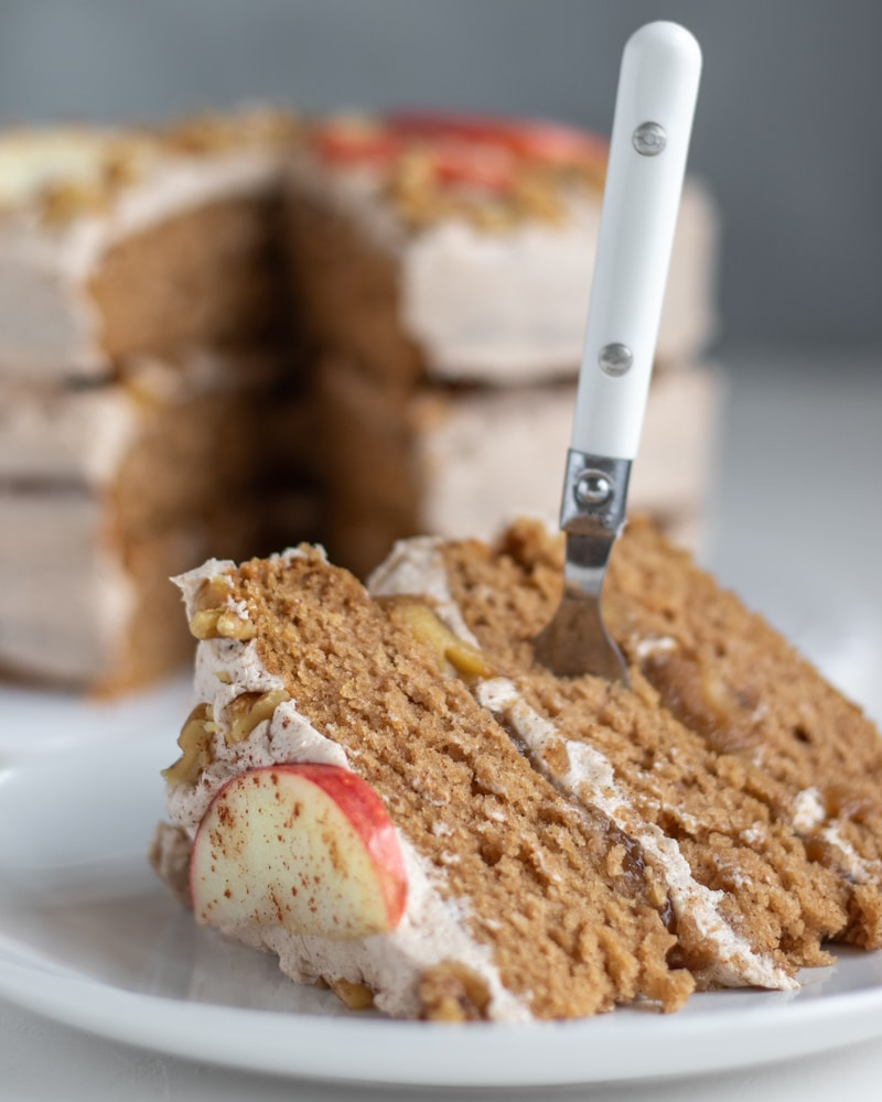 Apple Bourbon Layer Cake with Cinnamon Buttercream