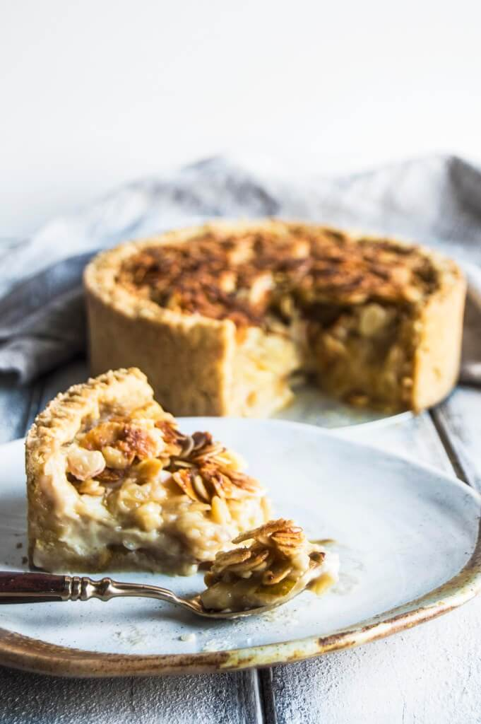 Pear Custard Pie With Caramelized Almond Crust