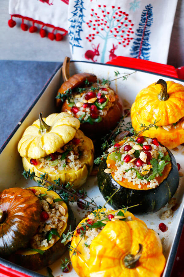 Quinoa Stuffed Squash with Walnuts and Pomegranate