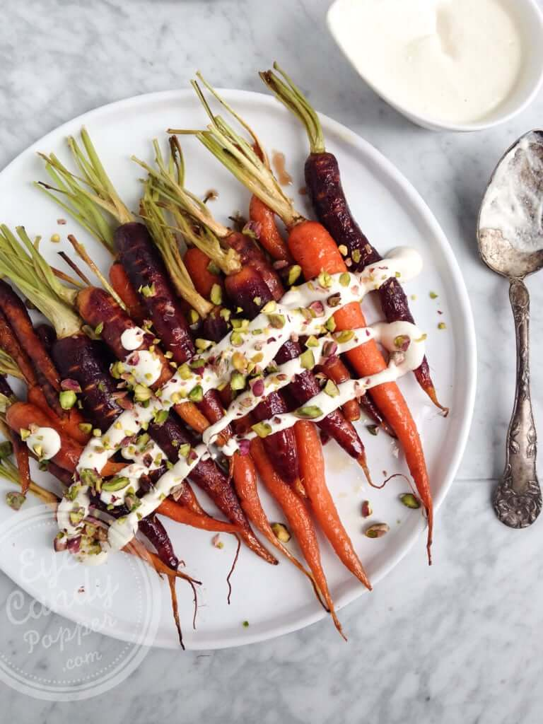Maple Glazed Carrots with Lemon Cashew Cream