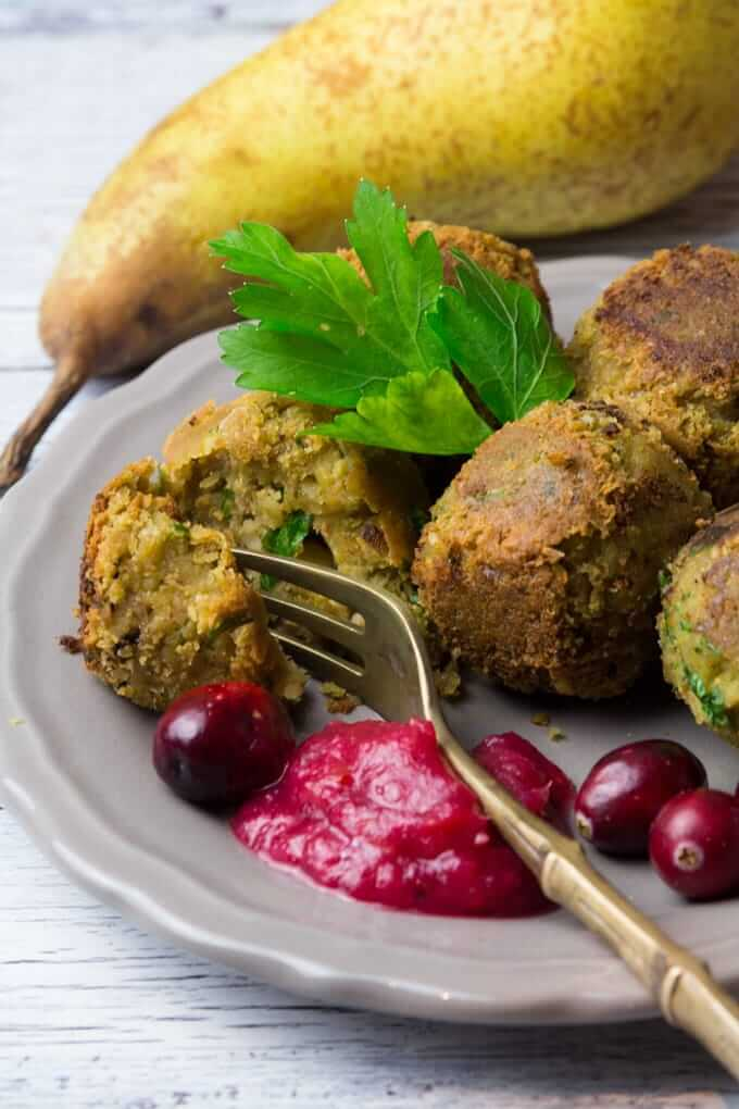 Festive Falafel with Cranberry Pear Dip