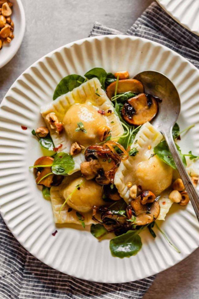 Sweet Potato Ravioli with Mushrooms