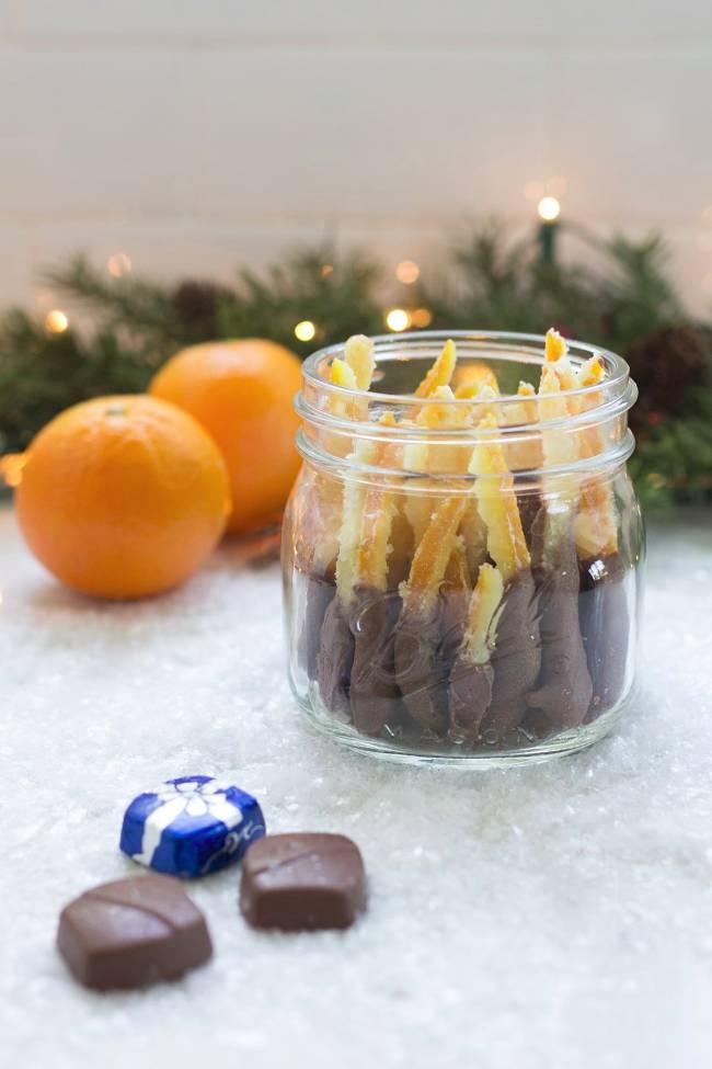 Chocolate DippedCandied Orange Peels in a Jar