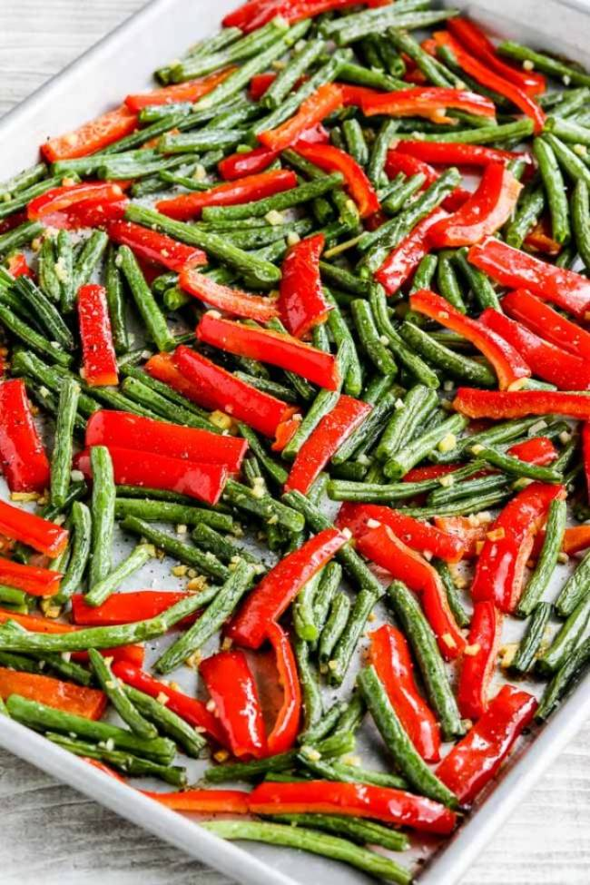 Roasted Garlic Green Beans and Red Bell Pepper