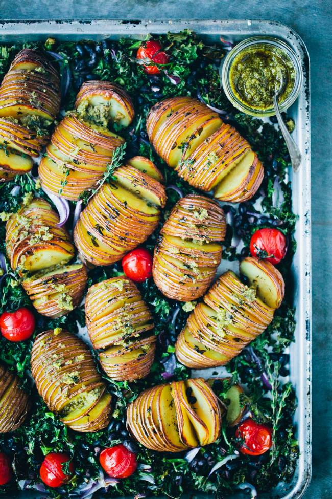 Hasselback Potatoes with Kale, Beans & Pesto