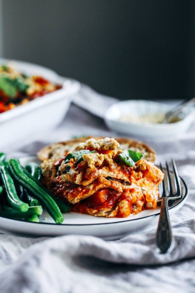 Butternut Squash Kale Lasagna with Cashew Ricotta