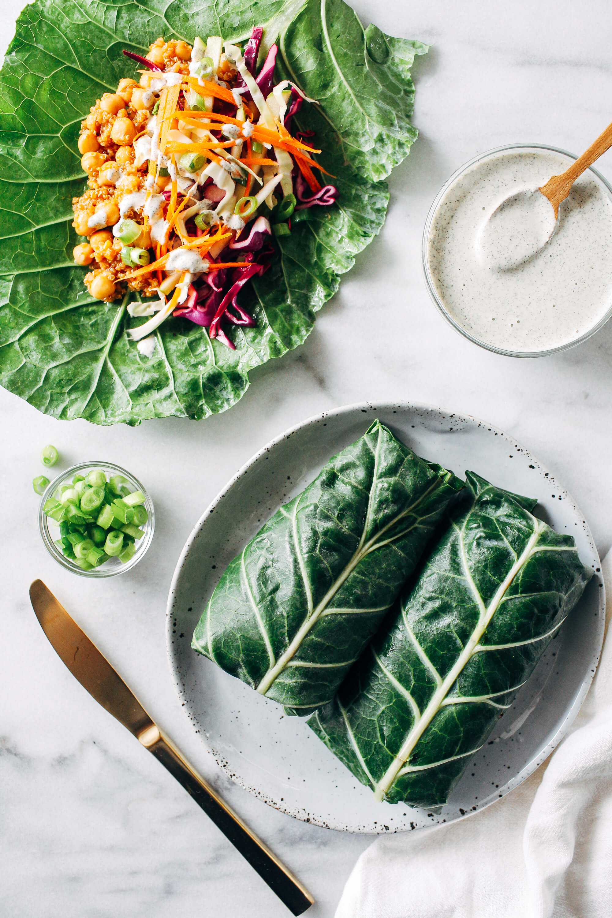 Vegan Bbq Pea Collard Wraps With Ranch Dressing And Veggies Yes