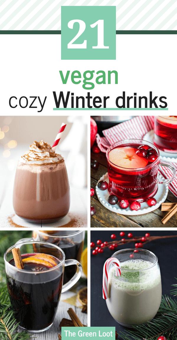 These cozy Vegan Drinks for Winter will warm up your soul! Hot chocolate, apple ciders and more dairy-free deliciousness for Christmas. | The Green Loot #vegan #veganrecipes #Christmas