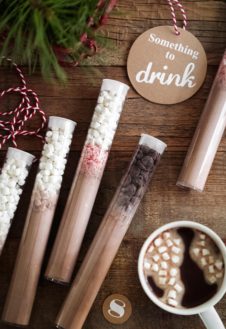 "Vegan DIY Instant Hot Cocoa Mix // As emergency hot cocoa ""injections"", these fun hot cocoa tubes are the perfect gifts for anyone with a chocolate obsession. 