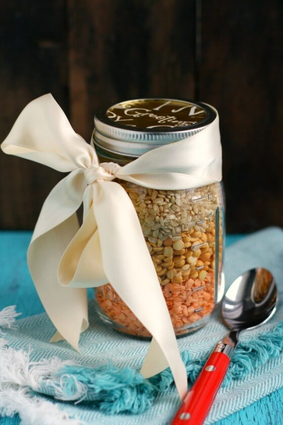 Vegan Curried Lentil Rice Soup Mix in a Jar