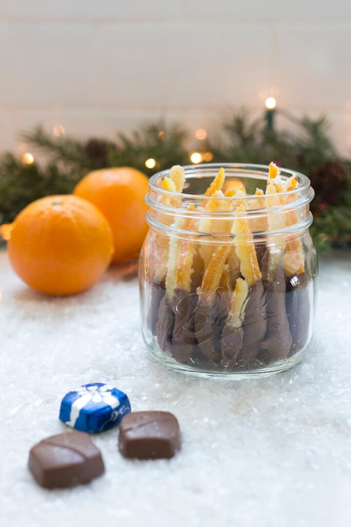 Vegan Chocolate Dipped Candied Orange Peels in a Jar