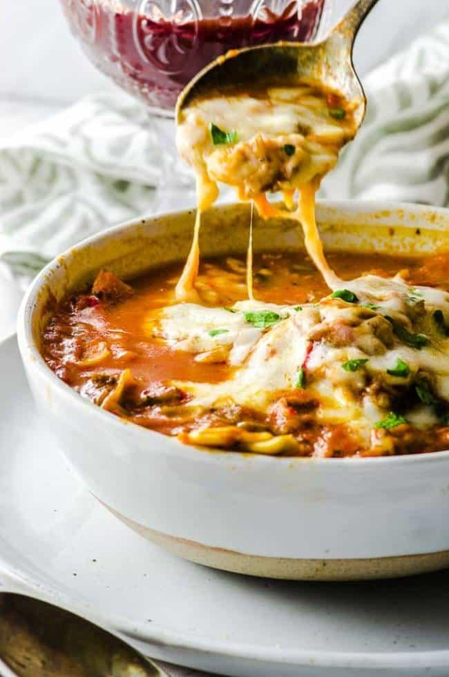 High Protein Lasagna Soup