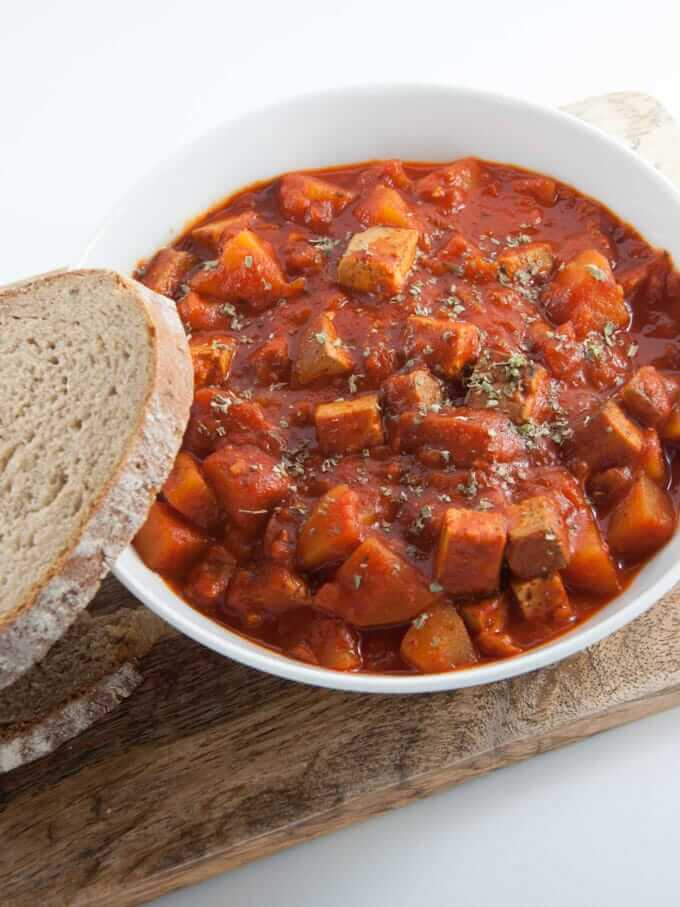 Vegan Goulash with Smoked Tofu and Potatoes