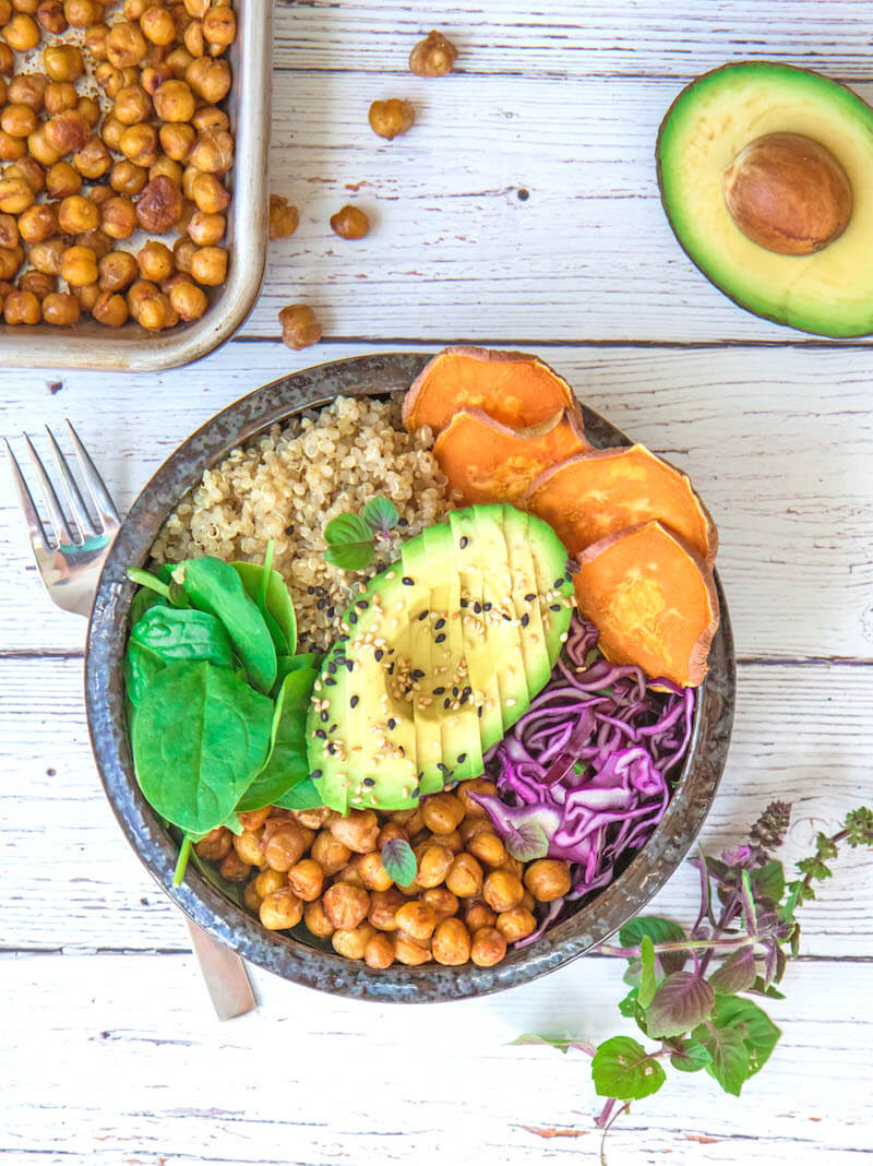 Vegan Buddha Bowl with Maple Roasted Chickpeas