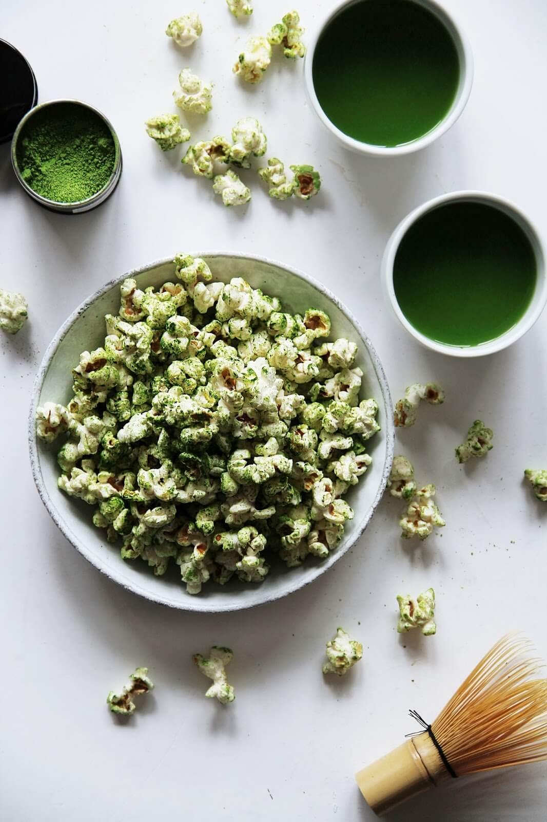 Vegan Matcha Popcorn