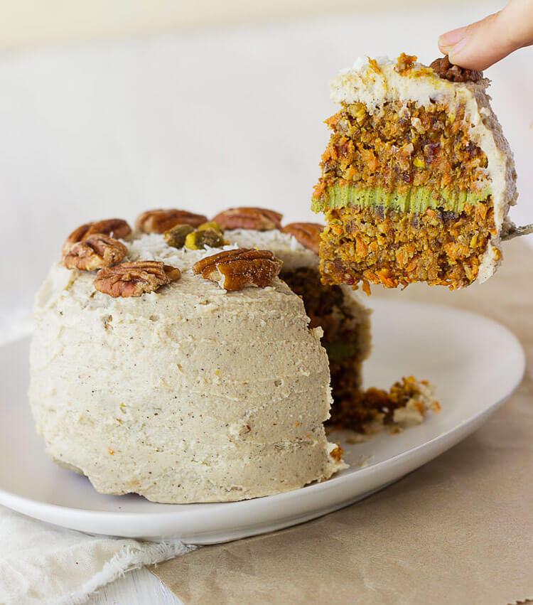 Vegan Raw Matcha Carrot Cake