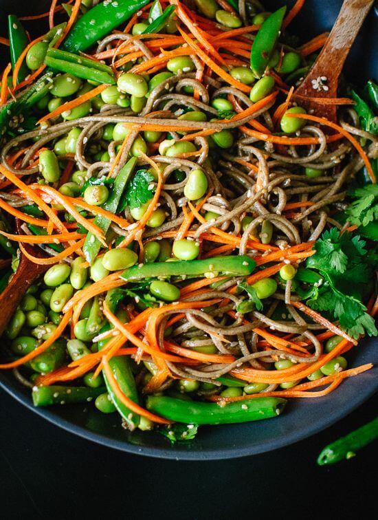 Vegan Sugar Snap Pea and Carrot Soba Noodles