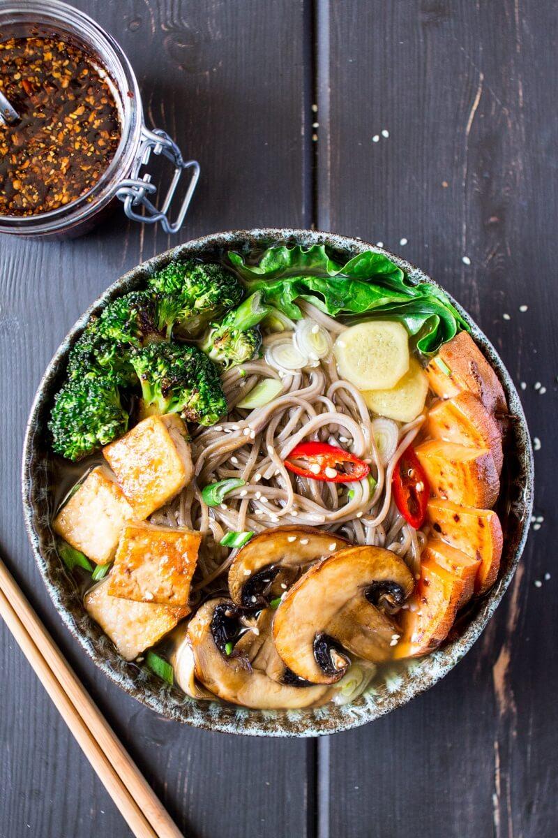 Vegan Ramen with Grilled Veggies and Tofu