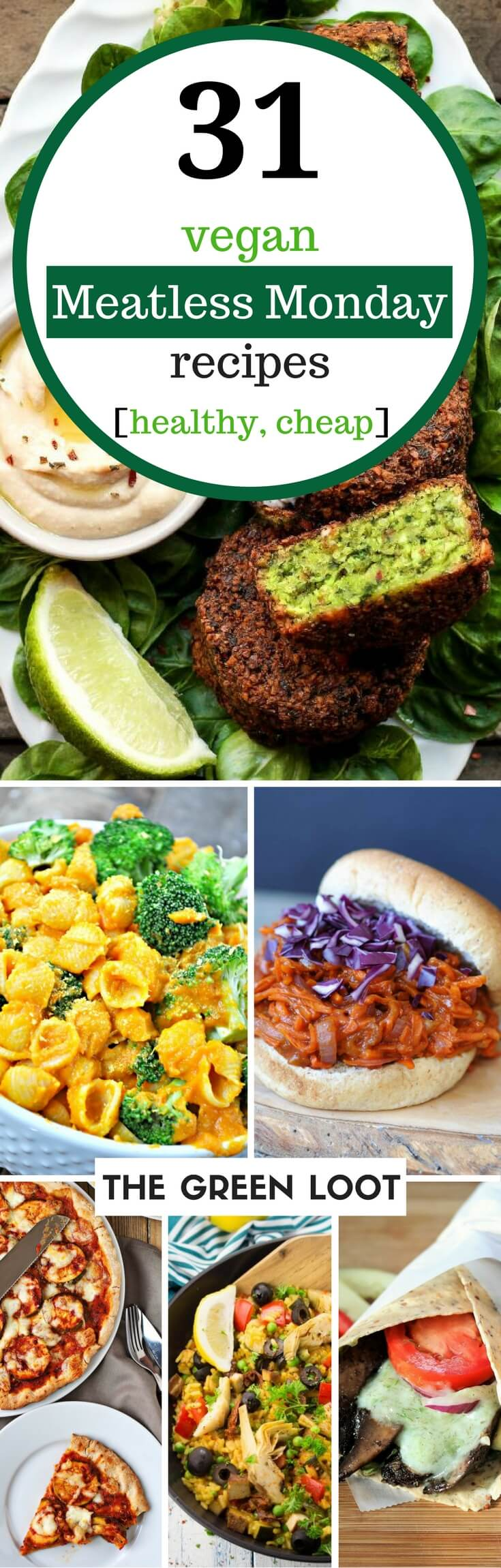 Vegan Meatless Monday recipes for a healthy lunch and dinner. Make these easy, cheap, and protein filled soup, pasta and other type of dishes for a filling plant-based meal. | The Green Loot #vegan #MeatlessMonday #dairyfree