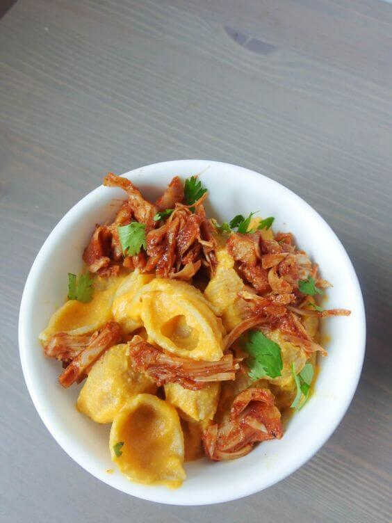 Vegan BBQ Jackfruit Sweet Potato Mac and Cheese