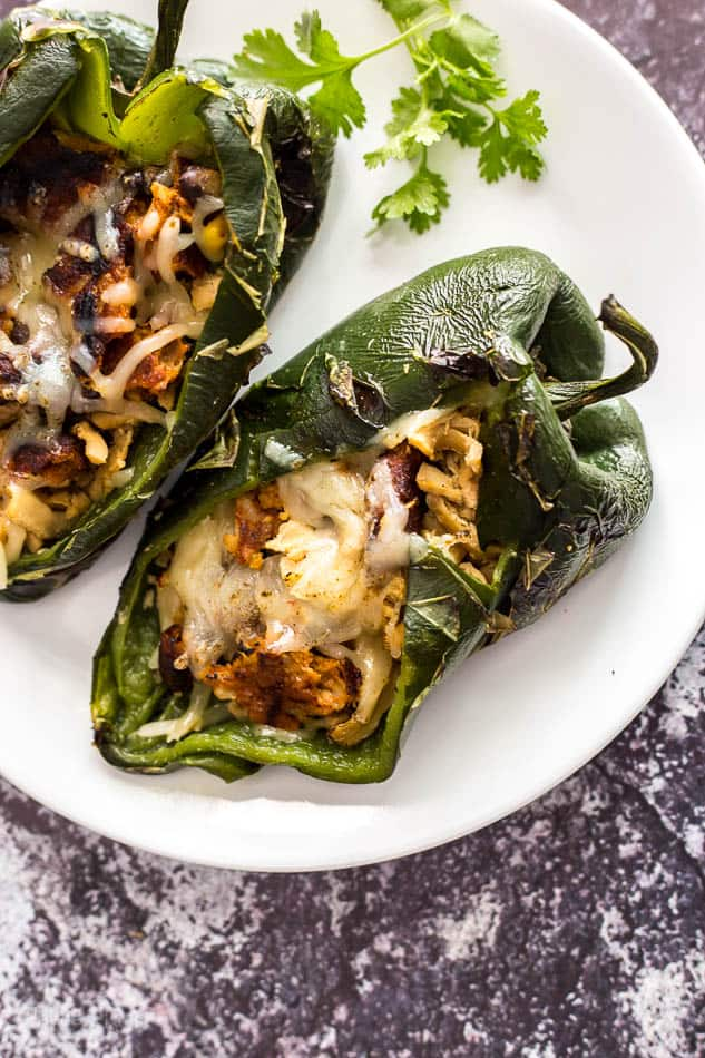 Vegan Grilled Stuffed Poblano Peppers