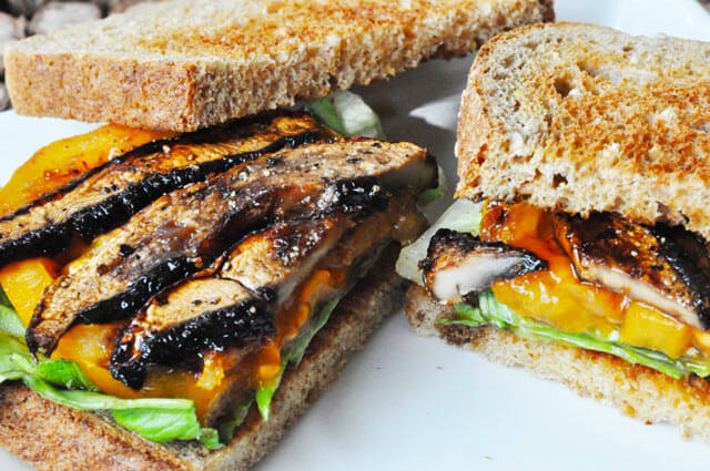 Vegan Mushroom Bacon // These mushroom bacon stripes are the perfect addition to any sandwich or burger. | The Green Loot #vegan #mushroom