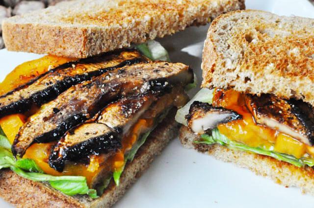 Vegan Mushroom Bacon // These mushroom bacon stripes are the perfect addition to any sandwich or burger. | The Green Loot #vegan #mushroom