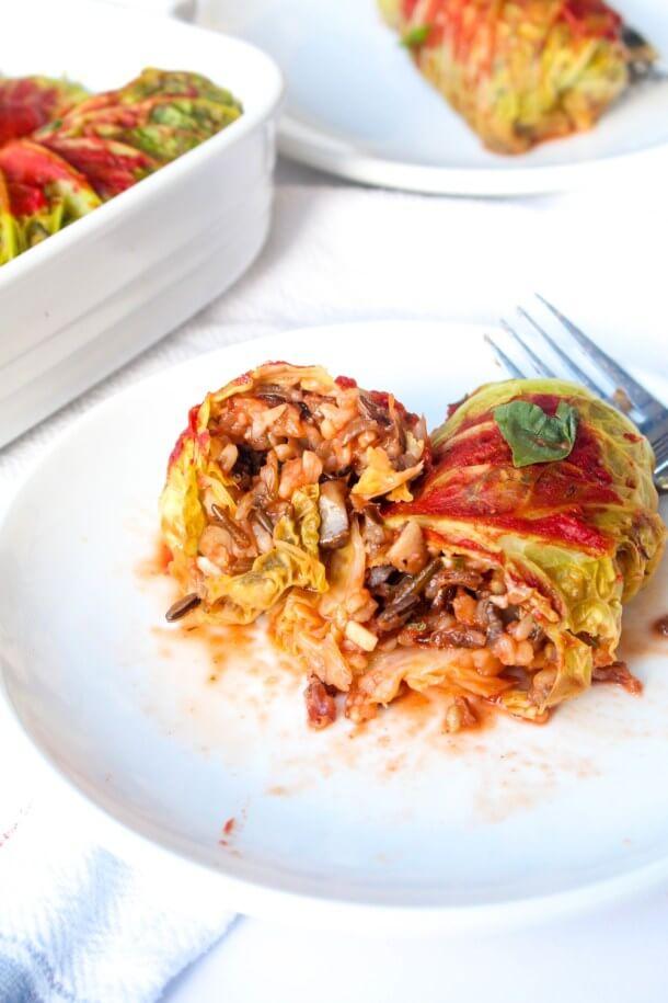 Vegan Cabbage Rolls with Wild Rice Mushroom Stuffing