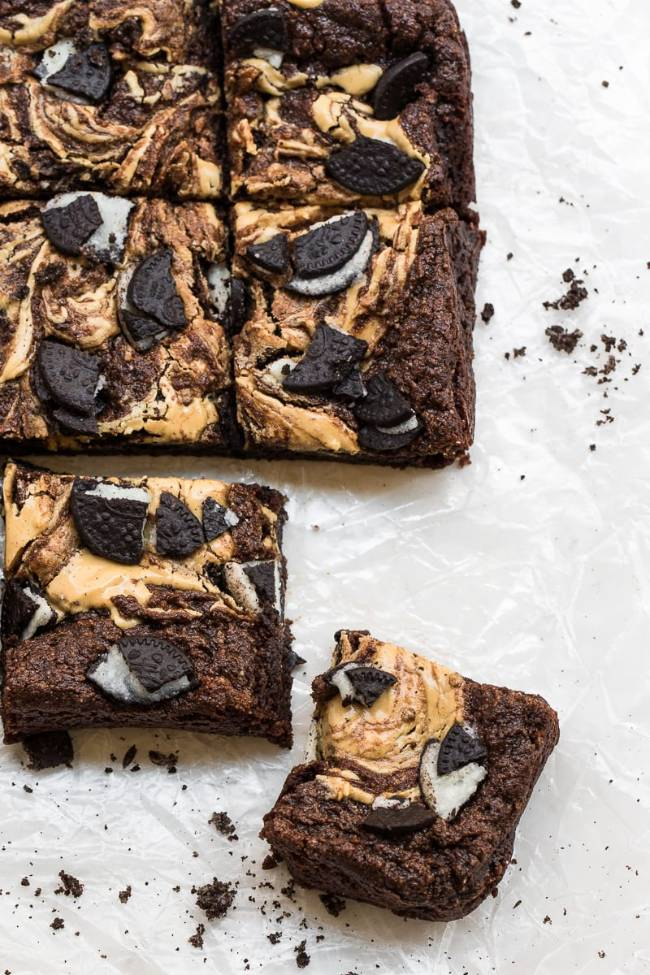 Oreo Brownies with Peanut Butter