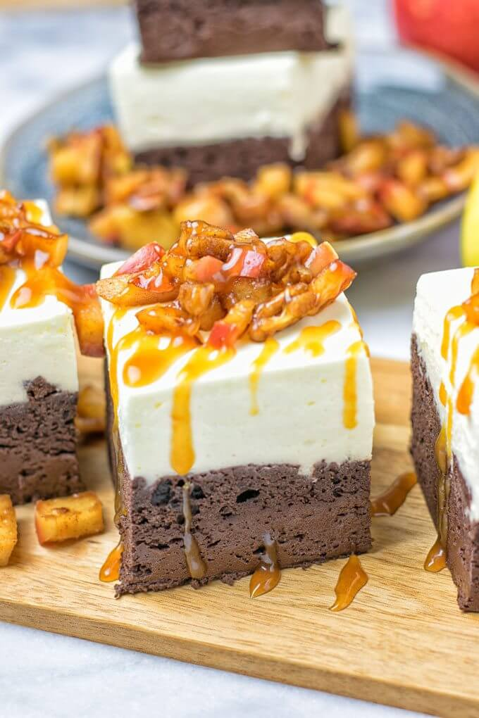 Vegan Cheesecake Brownies with Caramel Apples