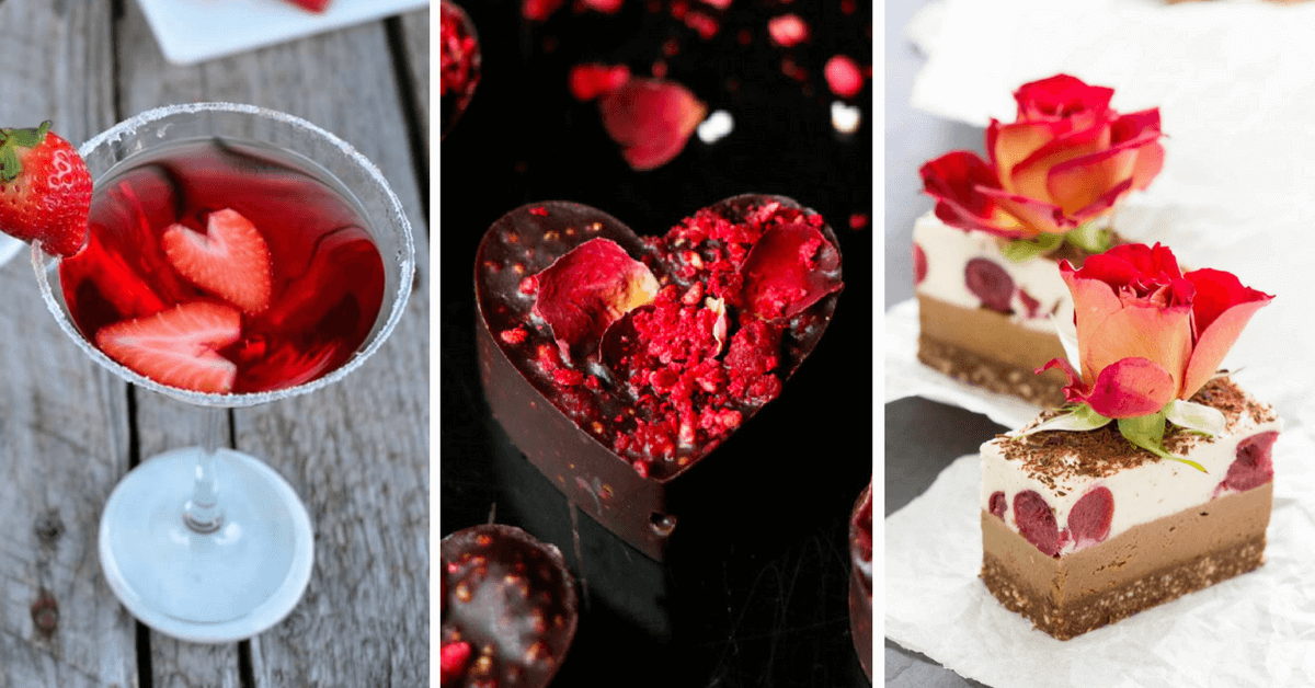 Vegan Valentine's Day recipes and ideas - make these romantic desserts that are easy and healthy. Filled with chocolate, red velvet and strawberry. | The Green Loot #vegan #ValentinesDay