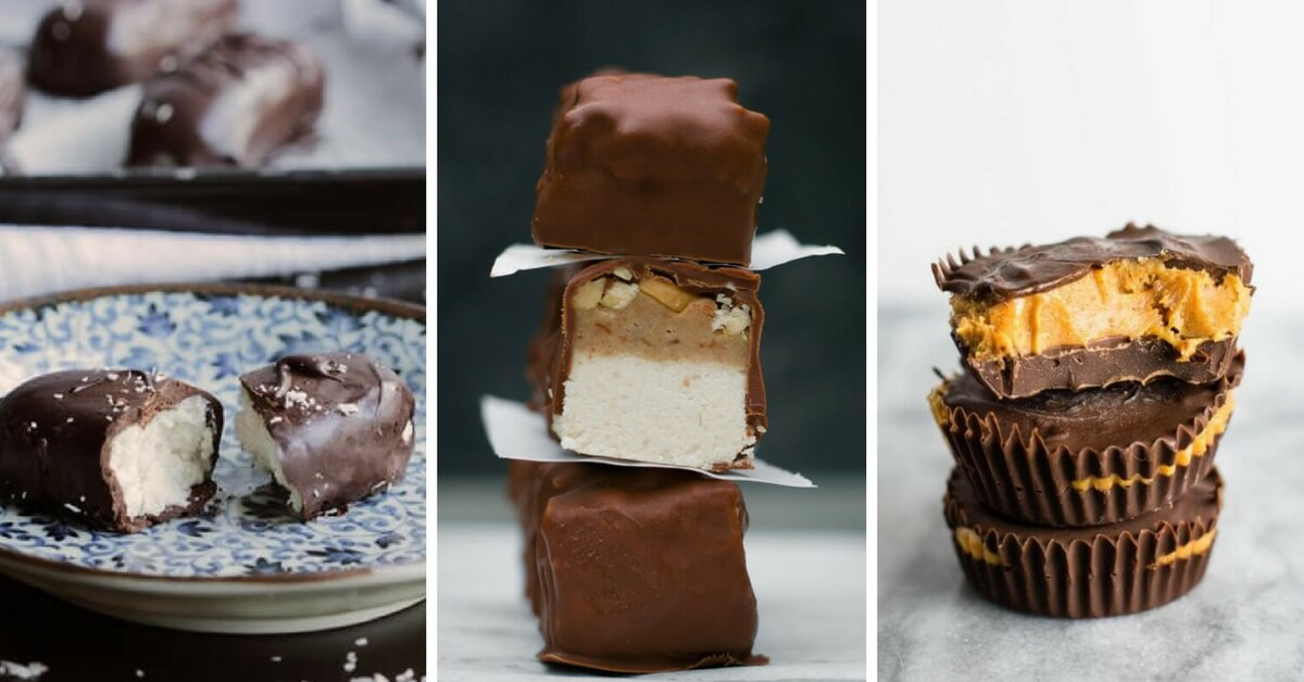 Vegan Chocolate Bar Recipes that are dairy-free and homemade so you can enjoy your favorite candy bars in a healthier form. These DIY vegan recipes for Twix, Almond Joy, Snickers...etc. taste like the real deal. Except, these sweet treats aren't full of unhealthy dairy, eggs and artificial ingredients. | The Green Loot #vegan #candybar