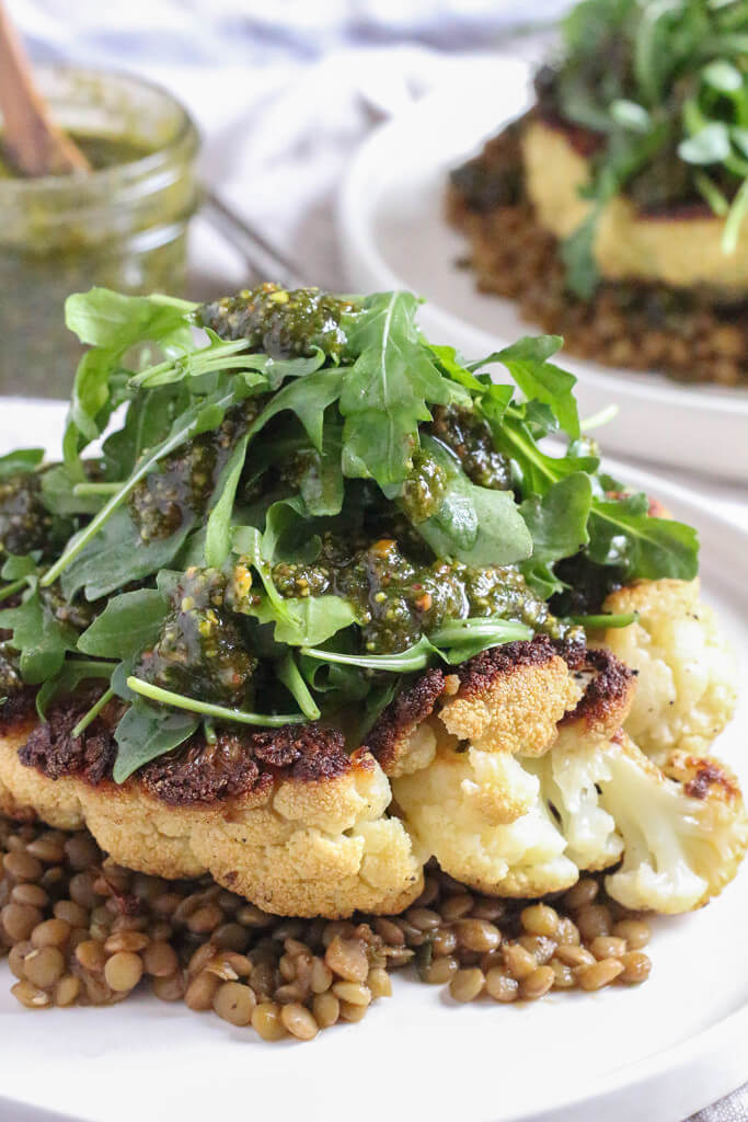 Vegan Cauliflower Steaks with Arugula