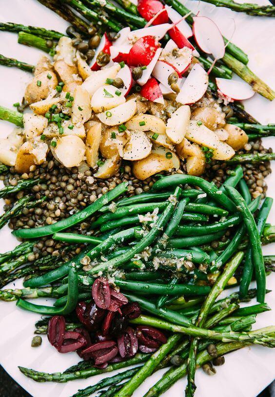 Vegan Grilled Asparagus Lentil Nicoise Salad