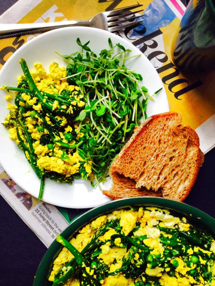 Vegan Tofu Scramble with Spring Greens