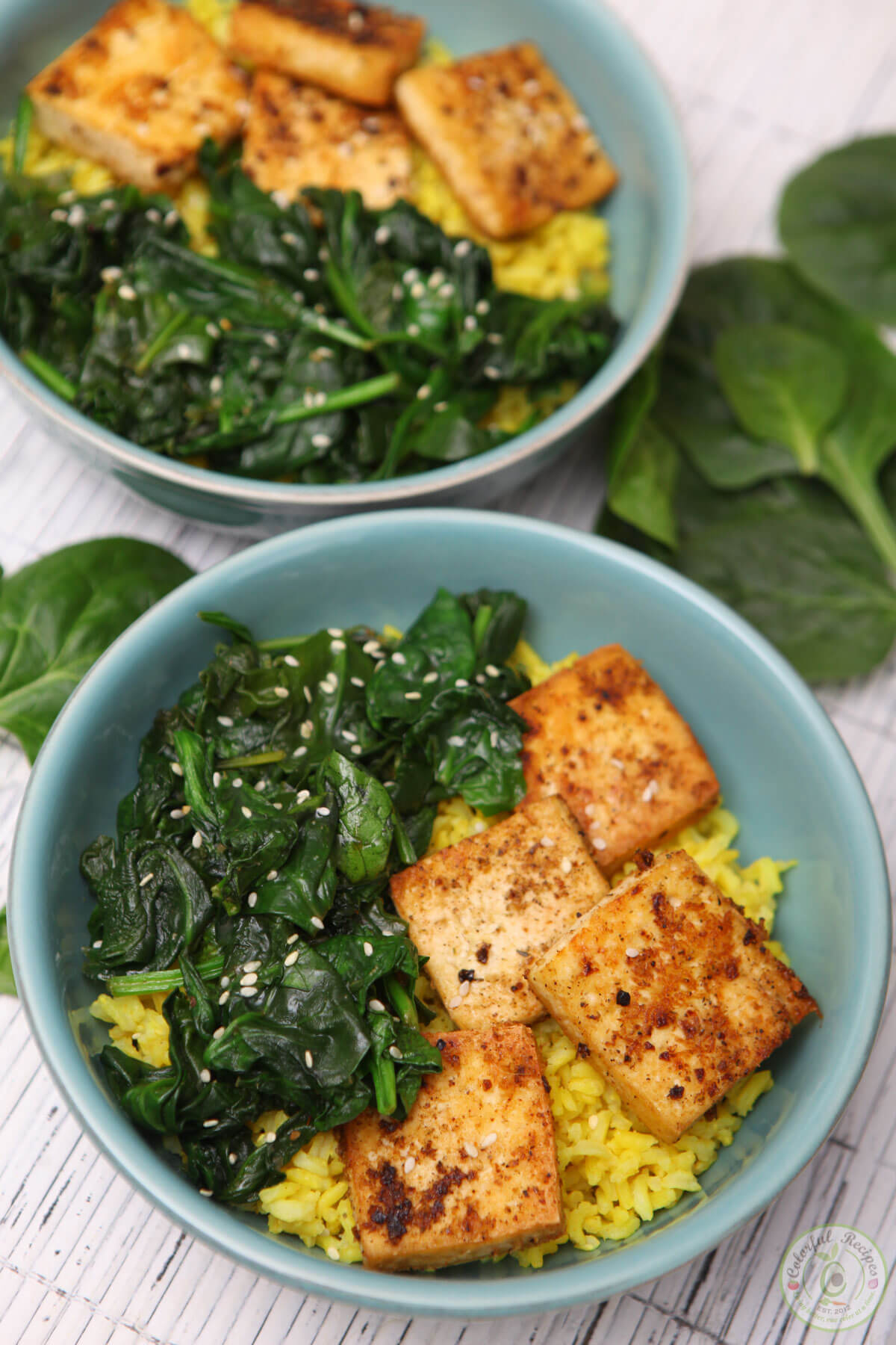 Vegan Spinach Tofu With Turmeric Rice