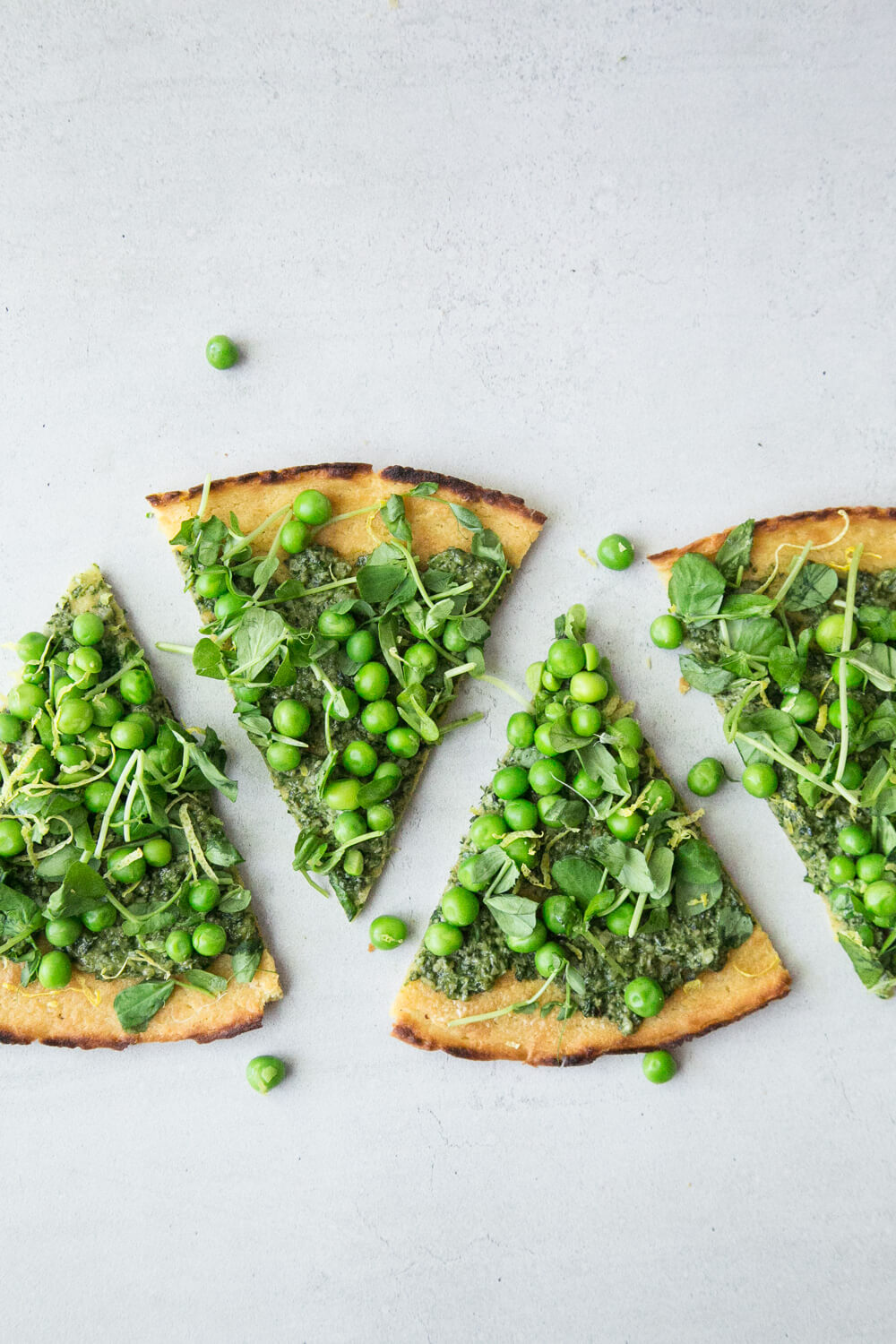Vegan Pea Socca with Mustard Greens Pesto