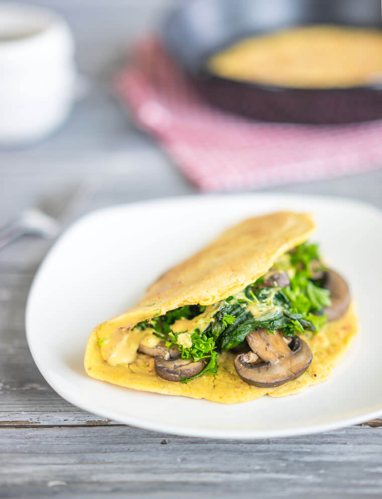 Vegan Cheesy Chickpea Omelets with Spinach