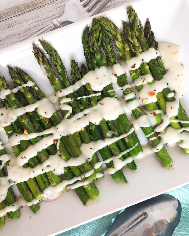 Vegan Roasted Asparagus with Cream Sauce